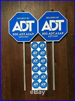 2 ADT YARD SECURITY ALARM SIGN and 12 STICKERS WINDOW DECALS HOME SECURITY