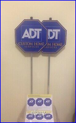 (2) Adt Security Yard Sign (6) Free Window Stickers Weatherproof & Uv Resistant