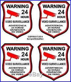 4 Alarm Home Auto Security Decal Sticker Signs Warning Video Surveillance