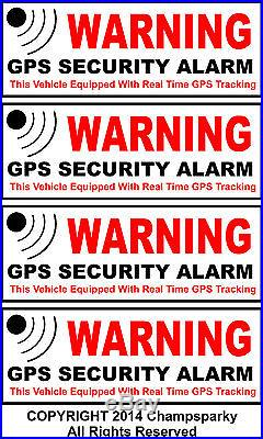 4 Auto Car Truck RV Bike SECURITY ALARM GPS Decal Stickers Apply Inside Window