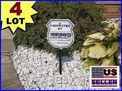 4 BRINKS ADT Home Security Monitoring System Yard Warning Signs+ALUMINUM POSTS