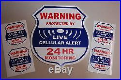 4 cellular 1 Yard sign LIVE Alarm SECURITY SURVEILLANCE DECAL STICKER WINDOW