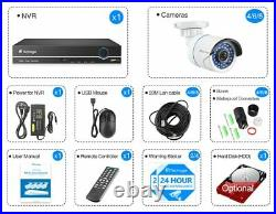8CH Outdoor 1080P POE NVR Human Detect Wired Home Security Camera System Lot