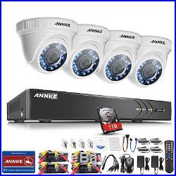 ANNKE 3MP HD 4CH 5in1 DVR 4x Dome 2MP IR Home Security CCTV Camera System 1TB