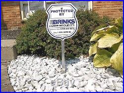 BRINKS ADT Home Security Alarm System Video Camera Warning Yard Sign+Sign Post