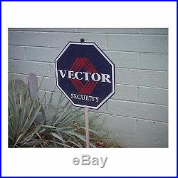 Home Security Alarm Yard Sign VECTOR 12 Aluminum 0n post w 5 Window Stickers