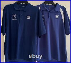 Lot 2 ADT Shirts Mens Size Medium M Blue White Home Security Protection Uniform