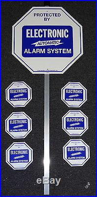 SECURITY SYSTEM ALARM YARD LAWN SIGN & STAKE with 6 DOOR WINDOW STICKERS ADT NEW