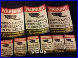 VIDEO SURVEILLANCE Security Decal Warning Sticker (if you are.)set of 9 pcs