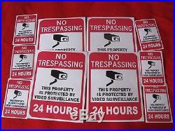 VIDEO SURVEILLANCE Security Decal Warning Sticker (no trespassing)set of 10 pcs