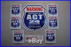 Yard sign + 6 STICKERS Security surveillance Home Alarm Business Burglar 24 hr